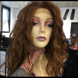 Long Swisslace Curly reddish Brown Lacefront Wig